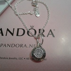 84d61cbf3 Pandora Jewelry | 3 Piece Signature Pendant Chain Charm And | Poshmark